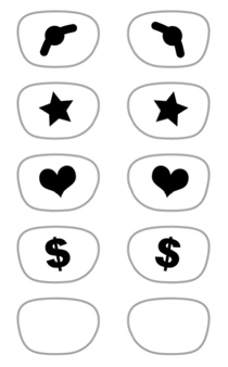 Here's a look at the different 3D glasses template I've created in the PDF file you can download. Included in the design is Kermit the Frog, stars, hearts, and dollar signs.