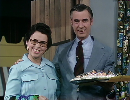 A photo of Joanne and Fred Rogers from the set of Mister Rogers' Neighborhood