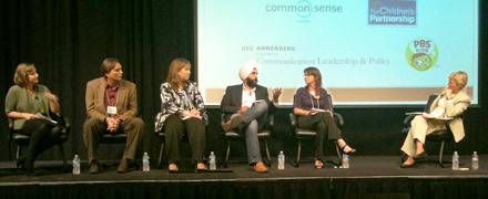 Panelists from the September 2010 event, Back to School – Learning and Growing in a Digital Age. From Right to Left - Moderator: Wendy Lazarus of The Children's Partnership. Panelists: Sara DeWitt of PBS Kids, Mandeep Dhillon of Togetherville, Marian Merritt of Symantec, Joe Sullivan of Facebook, Catherine Teitelbaum of Yahoo!