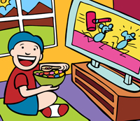 While the sun is shining outside,  a child is eating vibrant colored cereal while watching a cartoon on TV.