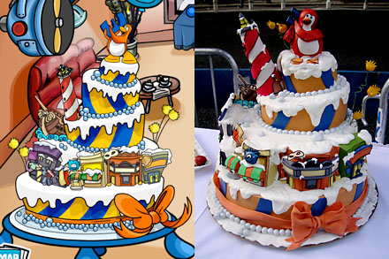 Club Penguin anniversary cake, celebrating their 3rd anniversary - online and offline cake comparison
