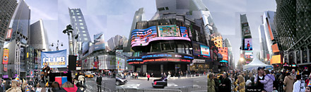 Panorama photo of Club Penguin celebrating their 3rd anniversary in the middle of Times Square