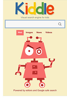 Photo of the Kiddle search page on a mobile device. Notice it says 'powered by editors and Google search'