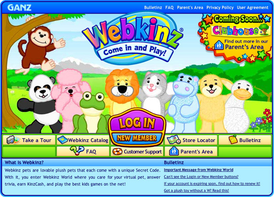 Screen capture of the Webkinz sign in page from April 2007.