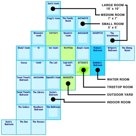Map of multiple Webkinz homes next to each other