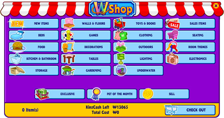 The WShop within the Webkinz World