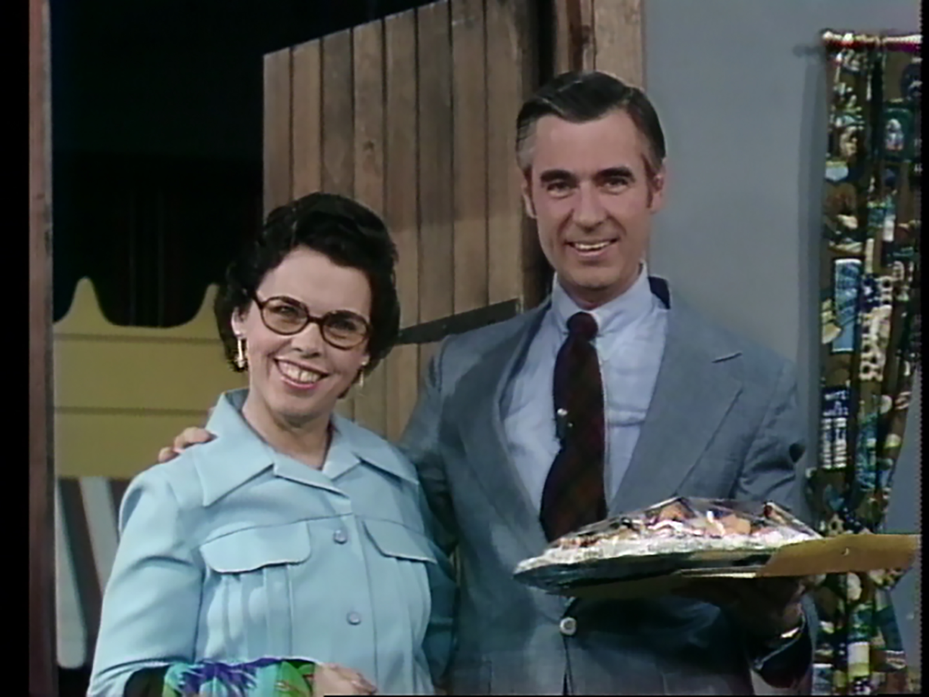 Larger photo of Joanne and Fred Rogers on the set of Mister Rogers' Neighborhood.